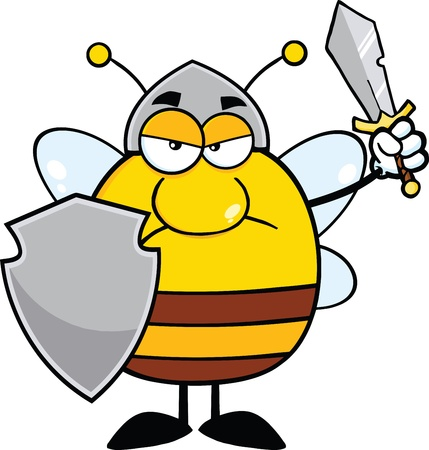 bees: Angry Pudgy Bee Warrior With Shield And Sword Illustration