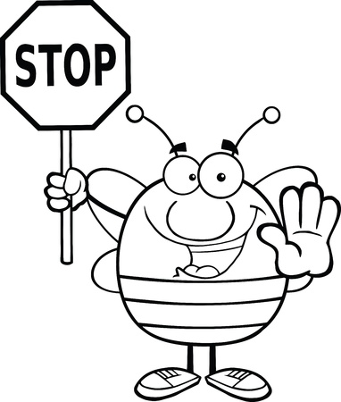 pollinator: Black And White Pudgy Bee Holding A Stop Sign Illustration