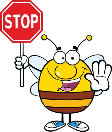 Pudgy Bee Holding A Stop Sign Vector