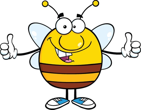 Happy Pudgy Bee Cartoon Mascot Character Giving A Double Thumbs Up Ilustrace