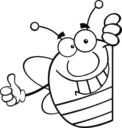 honeybee: Black And White Pudgy Bee Cartoon Character Giving A Thumb Up Behind A Sign