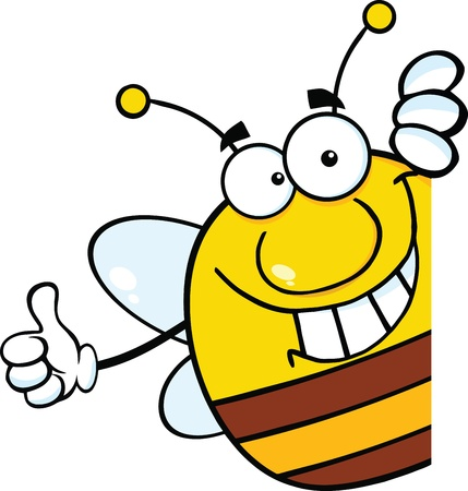 Pudgy Bee Cartoon Mascot Character Giving A Thumb Up Behind A Sign