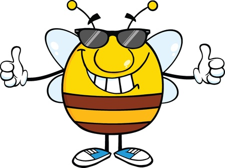 pollinator: Smiling Pudgy Bee With Sunglasses Giving A Double Thumbs Up