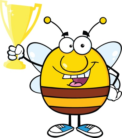 pollinator: Pudgy Bee Cartoon Character Holding Golden Trophy Cup Illustration