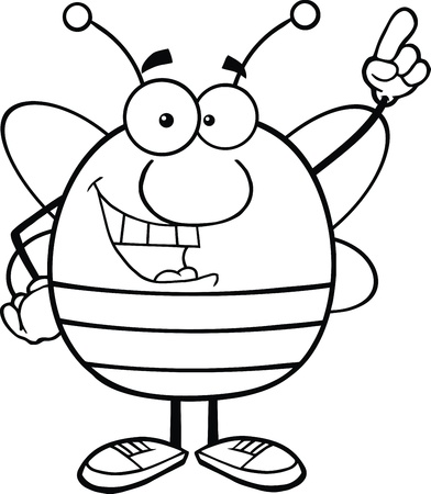 pollinator: Black And White Pudgy Bee Cartoon Character Pointing With Finger Illustration