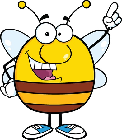 pollinator: Pudgy Bee Cartoon Character Pointing With Finger
