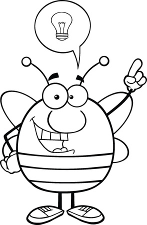 pollinator: Black And White Pudgy Bee Cartoon Character With Good Idea