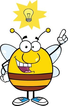 goed idee: Pudgy Bee Cartoon karakter met Goed Idee Stock Illustratie