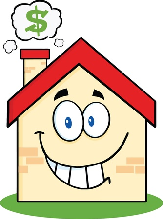cute house: Smiling House Cartoon Mascot Character With Smoke Cloud And Dollar Sign