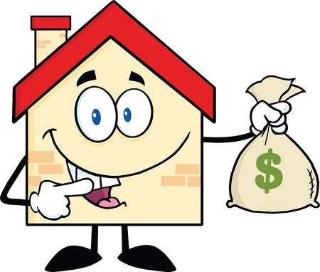 home clipart: House Cartoon Mascot Character Holding A Bag Of Money Illustration