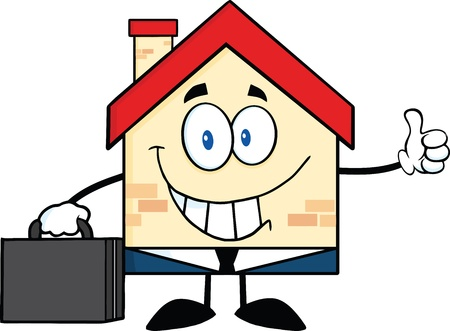 Smiling House Businessman Carrying A Briefcase And Giving A Thumb Up Vector
