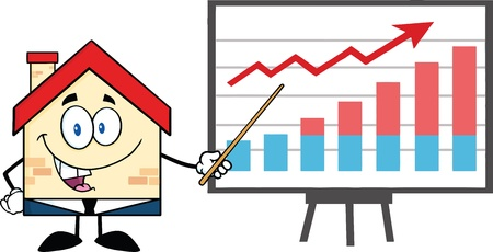 progressive: Business House Cartoon Character With Pointer Presenting A Progressive Chart Illustration