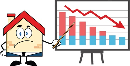 Grumpy Business House Cartoon Character With Pointer Presenting A Falling Chart Vector