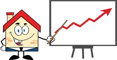 progressive: Business House Cartoon Character With Pointer Presenting A Progressive Arrow