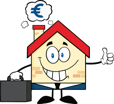 Smiling House Businessman Carrying A Briefcase,Giving A Thumb Up With Smoke Cloud And Euro Sign Vector
