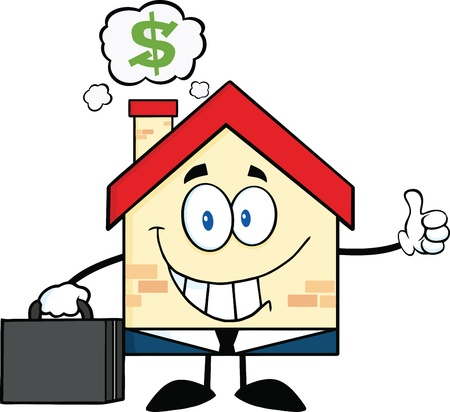 Smiling House Businessman Carrying A Briefcase,Giving A Thumb Up With Smoke Cloud And Dollar Sign