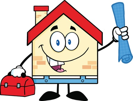 house worker: House Worker With Blueprint And Tool Box Illustration
