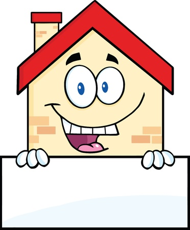 Happy House Cartoon Mascot Character Over Blank Sign Vector