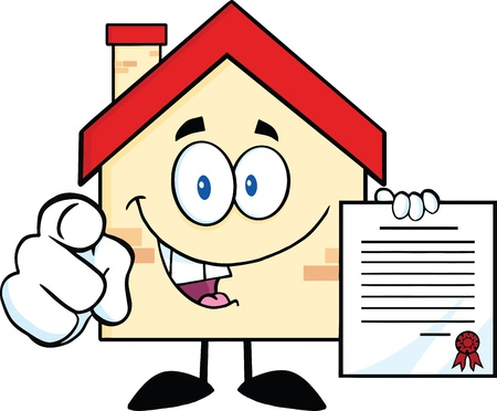 Happy House Cartoon Mascot Character Pointing With Finger And Holding A Contract