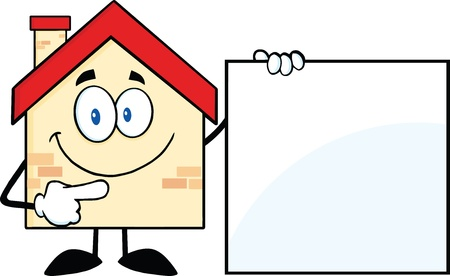 Haus-Karikatur-Maskottchen-Buchstaben, die eine leere Zeichen