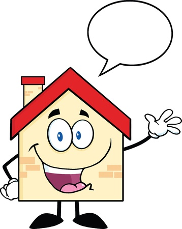 waving hand: Happy House Cartoon Mascot Character Waving For Greeting With Speech Bubble
