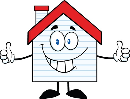 siding: Smiling House Cartoon Character With New Siding