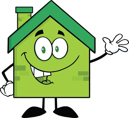 Green Eco House Cartoon Character Waving For Greeting Vector