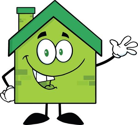 waving hand: Green Eco House Cartoon Character Waving For Greeting