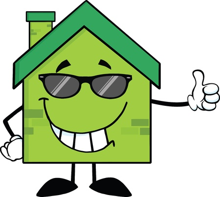 clipart chimney: Green Eco House Cartoon Character With Sunglasses Giving A Thumb Up Illustration