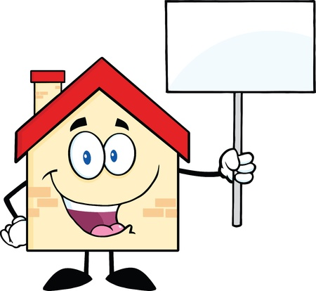 House Cartoon Character Holding Up A Blank Sign Vector