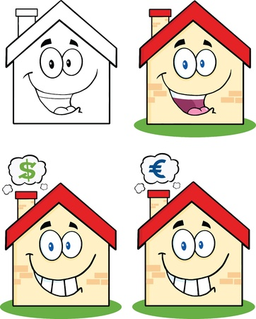 House Cartoon Mascot Characters  Set Collection 1 Vector