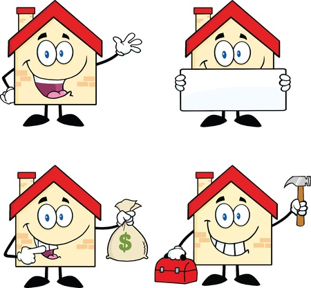 House Cartoon Mascot Characters  Set Collection 2 Vector