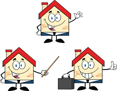 House Cartoon Mascot Characters  Set Collection Vector