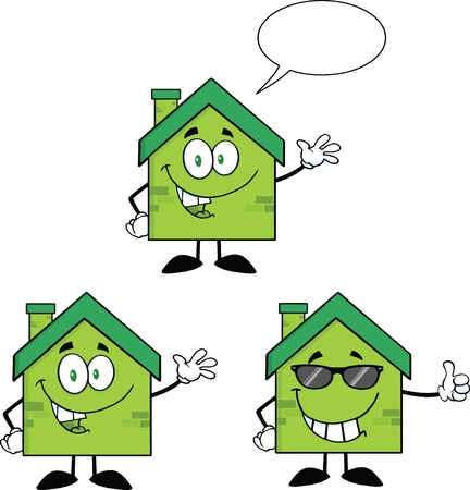 house construction: House Cartoon Mascot Characters  Set Collection 7