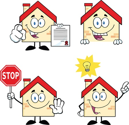 signboard: House Cartoon Mascot Characters  Set Collection 9