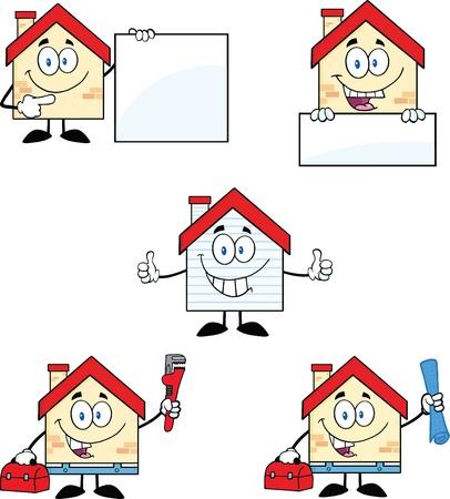 Huis Cartoon Mascot Characters Set Collection