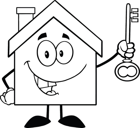 Back And White House Cartoon Character Holding Up A Key Vector