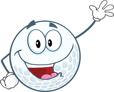 Happy Golf Ball Cartoon Character Waving For Greeting Stock Vector - 21983869