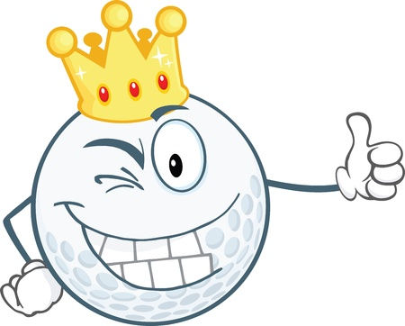 drawings image: Winking Golf Ball Cartoon Character With Gold Crown Holding A Thumb Up