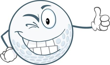winking: Winking Golf Ball Cartoon Character Holding A Thumb Up