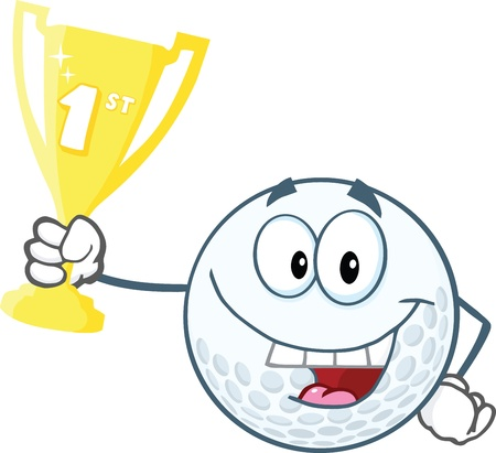 pelota caricatura: Feliz pelota de golf Holding Primer Premio Trofeo de la Copa