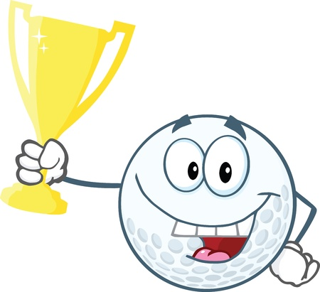 Happy Golf Ball Holding Golden Trophy Cup Vector