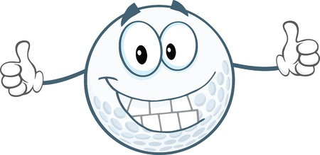 golf cartoon characters: Smiling Golf Ball Cartoon Character Giving A Thumbs Up