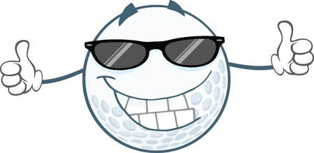 golf cartoon characters: Smiling Golf Ball With Sunglasses Giving A Thumb Up Illustration