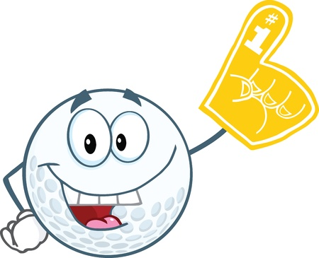 Smiling Golf Ball With Foam Finger Stock Vector - 21983957