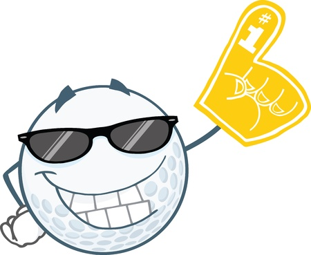 Smiling Golf Ball With Sunglasses And Foam Finger Stock Vector - 21983954