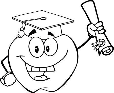 Black And White Happy Apple Character Graduate Holding A Diploma Vector
