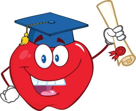 fresh graduate: Happy Apple Character Graduate Holding A Diploma