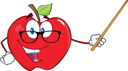 Smiling Apple Teacher Character With A Pointer Vector