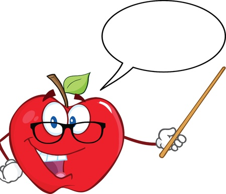 Smiling Apple Teacher Character With A Pointer And Speech Bubble Ilustração